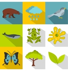 Nature icons set flat style vector