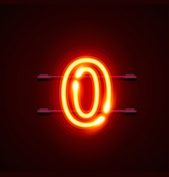 Neon city font sign number 0 signboard zero vector