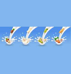 nuts set in milk splash or ice cream vector image