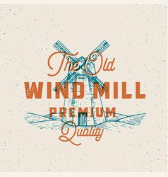 old windmill abstract sign symbol or logo vector image
