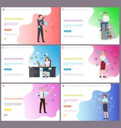 Online business businessman solving problems vector