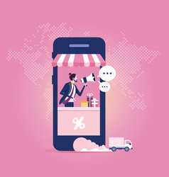 online store on smart phone business and digital vector image