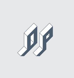 op - monogram or logotype isometric 3d font vector image