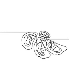 Oysters with lemone continuous line drawing vector