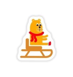 Paper sticker on white background Bear on sledge vector