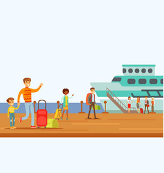 Passengers boarding large ship part of people vector