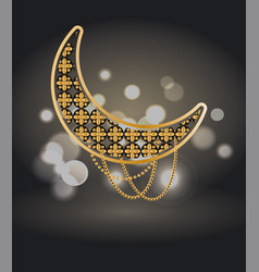 ramadan kareem poster with crescent isolated vector image