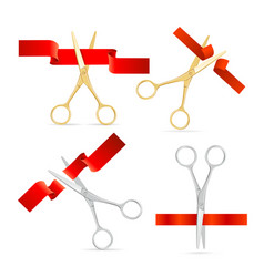 realistic golden and silver scissor cut red silk vector image