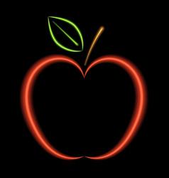 red apple neon lights vector image