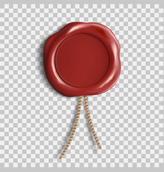 Red wax seal template isolated on transparent vector