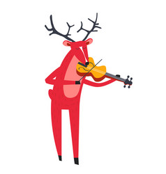 Reindeer playing violin and animal with music vector