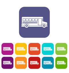 School bus icons set flat vector