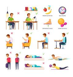 School children posture collection vector
