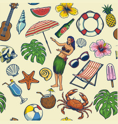 seamless colorful summer pattern vector image