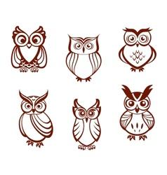 set cartoon owls vector image
