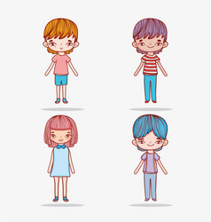set cute girl and boys with casual clothes vector image