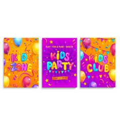 set kids flyers for party children zone club vector image