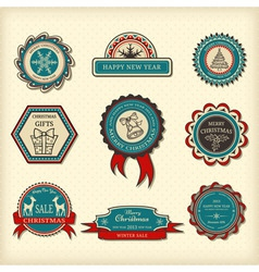 Set of christmas labels vector