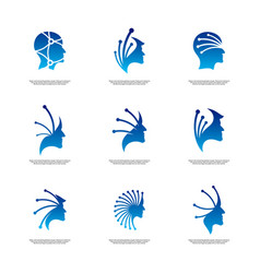 set of head tech logo concept brain robotic logo vector image
