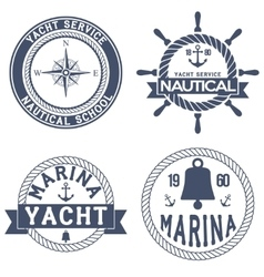 Set of Nautical Yacht badges vector image