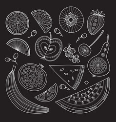 Set of nutrient-rich raw fruits in boho style vector