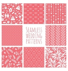 Set seamless patterns for wedding decoration vector