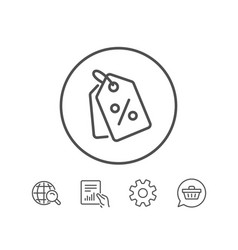 Shopping tags line icon special offer sign vector