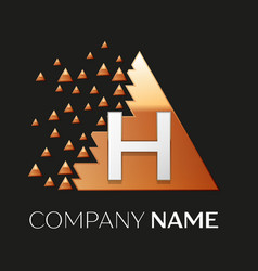 Silver letter h logo symbol in the triangle shape vector