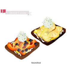 smorrebrod with fresh fruit the national dish of vector image