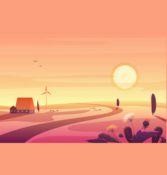 solar rural landscape in sunset with hills small vector image