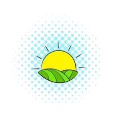 Sun over fields of France icon comics style vector