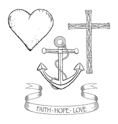 Symbols for faith hope and love vector image