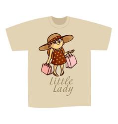 T-shirt print design little lady vector