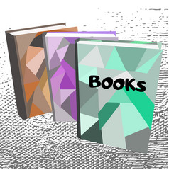 three books on abstract background vector image