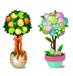 Two trees in pots with leaves and easter eggs vector