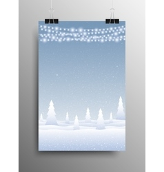 Vertical Poster Snow Falling Garland Christmas vector