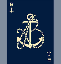 Vintage label with an anchor and letter made vector
