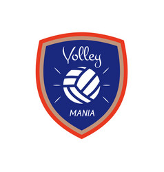 Volleyball logo template badge volley mania with vector
