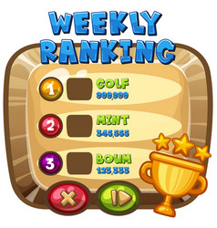 Weekly ranking template on computer game vector
