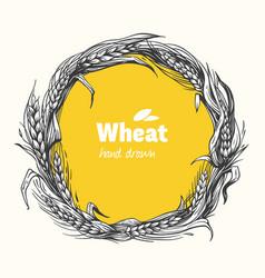 wheat wreath hand drawn vector image