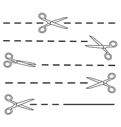 white scissors set with dotted line vector image
