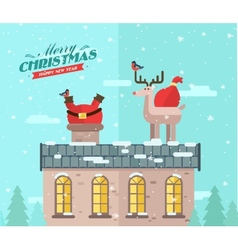 winter background Santa on the roof vector image