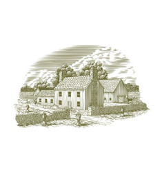 Woodcut english farmhouse vector