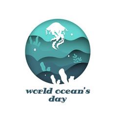 World oceans day element design graphic vector