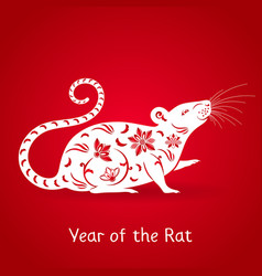 Year white rat vector