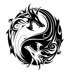 yin yang dragons vector image