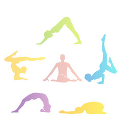 Yoga poses silhouette vector