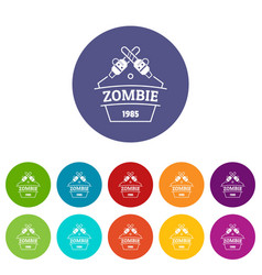 Zombie attack icons set color vector