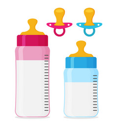 feeding bottles and baby pacifiers flat icon set vector image