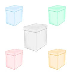 Group colorful closed unprinted boxes vector image vector image